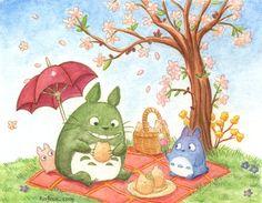 Hanami Totoro by *RioRock. Makes me smile