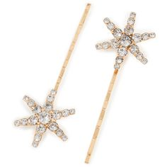 Jennifer Behr Star Clip Set of 2 ($125) ❤ liked on Polyvore featuring accessories, hair accessories, jewelry, barrette hair clip, crystal hair clips, jennifer behr, star hair accessories and crystal hair pins
