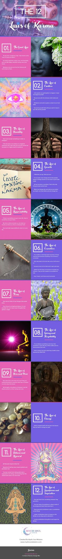 http://www.mysticsoulwisdom.com/karma-infographic/4592738674 In this infographic we look at the 12 laws of karma