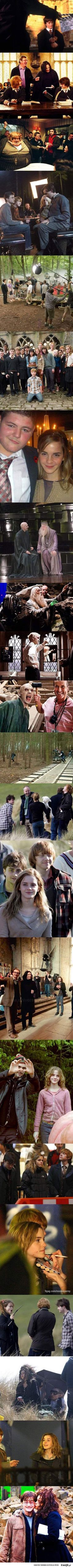 Laughing my ass off because the actors(who play people that despise each other) get along so well with each other on set and behind camera because i mean they're freaking kick ass actors and also Voldemort has a nose