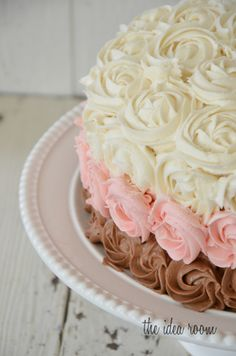It is layered on the inside too! Clever! Neapolitan Rose Cake 5