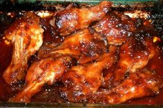 key key These are both sweet and tangy, and a versatile twist on the usual chicken wings. They can be served for dinner, and can also be made ahead of time. The wings can also be served on a buffet line, kept warm in a buffet server or in a crock pot. Baked Chicken Wings, Chicken Wing Recipes, Fried Chicken, Crockpot Chicken Wings, Oven Chicken, Marinated Chicken, Lemon Chicken, Chicken Breasts, Appetizer Recipes