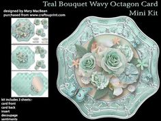 Teal Bouquet Wavy Octagon Card Mini Kit on Craftsuprint - Add To Basket!