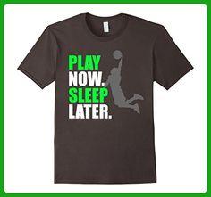 Mens Play Now Sleep Later Funny Basketball Shirt 2XL Asphalt - Sports shirts (*Amazon Partner-Link)