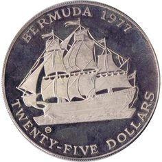 Moneda de plata 25$ Bermuda 1977. Barco Velero., Tienda Numismatica y Filatelia Lopez, compra venta de monedas oro y plata, sellos españa, accesorios Leuchtturm