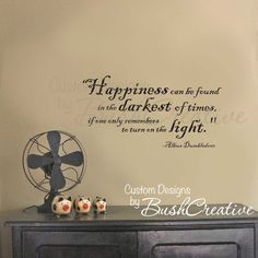 Wall Decal Harry Potter Happiness Quote by Dumbledore. $20.00, via Etsy.
