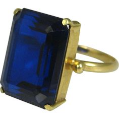 Superb Art Deco 18k Gold 8 Carat Sapphire Solitaire Ring ~ c1920 found at www.rubylane.com @rubylanecom