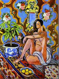 Henri Matisse (French: 1869 – 1954) - Figura decorativa sobre fondo ornamental