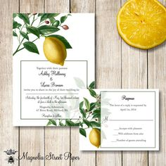 Botanical Wedding Invitation, Printable Lemon Tree Wedding Invitation, Vintage Lemon Botanical Wedding Invitation, Custom Printable