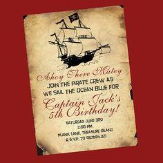 Invitation idea for Parker's pirate party