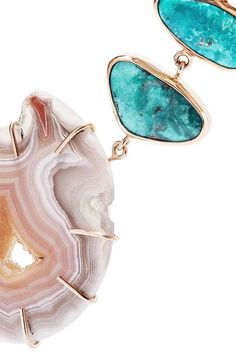 Melissa Joy Manning - 14-karat Gold, Agate And Turquoise Necklace - one size