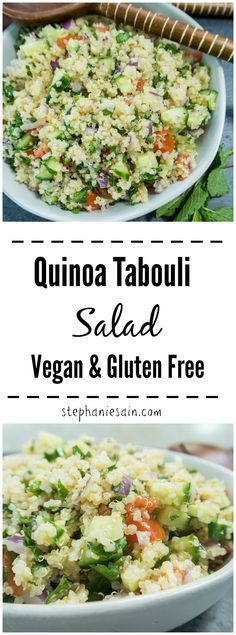This Quinoa Tabouli Salad is loaded with fresh chopped veggies & quinoa is used in place of the traditional bulgar wheat. A quick and easy dinner or lunch idea that is healthy, tasty & delicious. Tabouli Recipe, Quinoa Salad Recipes, Veggie Recipes, Healthy Dinner Recipes, Vegetarian Recipes, Free Recipes, Meal Recipes, Vegan Meals, Salads