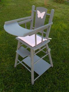 chaise haute en bois vintage pour poup e jeux jouets par by mary liste de naissance vintage. Black Bedroom Furniture Sets. Home Design Ideas