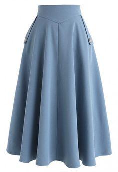 Classic Simplicity A-Line Midi Skirt in Blue Retro Indie and Unique Fashion - . Classic Simplicity A-Line Midi Skirt in Blue Retro Indie and Unique Fashion - Midi Skirts - Ideas of Midi Skirts Unique Fashion, Modest Fashion, Fashion Dresses, Vintage Fashion, Fashion Ideas, Indie Fashion, Classic Fashion, Classic Outfits, Blue Fashion