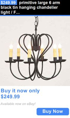Antiques: Primitive Large 6 Arm Black Tin Hanging Chandelier Light / Free Ship BUY IT NOW ONLY: $249.99
