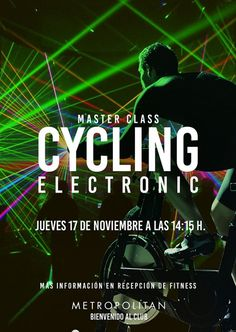 Mañana, jueves 17 de noviembre a las 14:15 h., No te pierdas la Master Class de Cycling Electronic que os hemos preparado. ¡Os esperamos! Más información en recepción de Metropolitan Sagrada Familia.