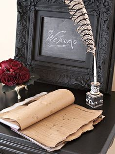 Ghosts guest book for Halloween wedding party Medieval Wedding, Gothic Wedding Ideas, Wedding Inspiration, Halloween Weddings, Halloween Wedding Receptions, Masquerade Wedding Decorations, Gothic Halloween Decorations, Halloween Wedding Centerpieces, Halloween Bride