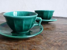 Vintage Coffee Cups And Saucers Green Espresso Luneville Tea Hot Chocolate French Housewares