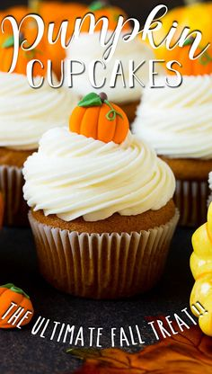 These pumpkin cupcakes are filled with pumpkin puree and spices, then baked and topped with a generous amount of cream cheese frosting. Easy Gluten Free Desserts, Low Carb Desserts, Fall Desserts, Best Dessert Recipes, Delicious Desserts, Vegetarian Desserts, Healthy Recipes, Pumpkin Cupcakes, Pumpkin Dessert