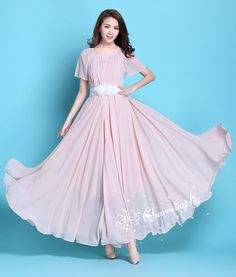 afc2f524a971 90 Colors Chiffon Pink Short Sleeve Long Party Dress Evening Wedding  Sundress Summer Holiday Beach Dress Bridesmaid Dress Maxi Skirt