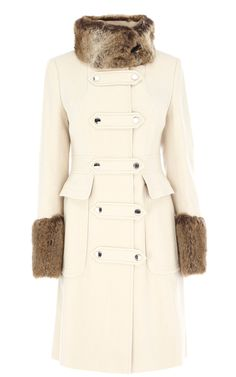 2013 Karen Millen Outlet Moleskin Coat With Faux Fur Cream Military Style Coats, Cream Coat, Coats For Women, Clothes For Women, Cheap Clothes, Faux Fur Collar Coat, Casual Outfits, Fashion Outfits, Women's Fashion