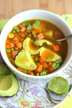 Soups are very popular in Colombia. Nowadays, soup is comfort food and Healthy Crockpot Recipes, Veggie Recipes, Healthy Dinner Recipes, Mexican Food Recipes, Soup Recipes, Vegetarian Recipes, Cooking Recipes, Veggie Food, My Colombian Recipes