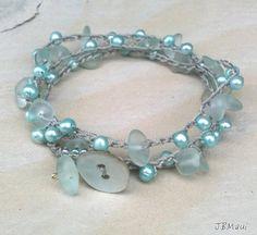 Turquoise Pearl and Seaglass Crocheted Bracelet Wrap by JonaraBluMauiJewelry, $25.00