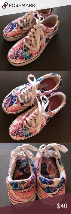 Old Skool Vans - Hawaiian Print These old skool vans are super comfy and cute to throw on. They were only worn a handful of times. Vans Shoes Sneakers