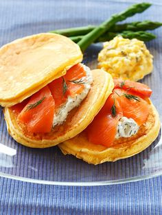 Salmon pancake sandwiches. I have to try this!
