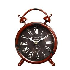 "Furnistar Vintage-Inspired Brown Iron Table Top Alarm Clock ""Kensington Station"""