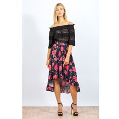 Feel flirty in florals with the Cherish Skirt. Featuring a back dipped hemline and frill hem on a beautiful floral black base printed chiffon. Print Chiffon, No Frills, Hemline, Florals, Latest Trends, Your Style, Womens Fashion, Fashion Trends, Cocktail