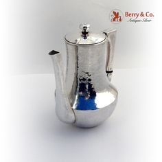 Arts Crafts Coffee Pot Hammered Hand Made Zodiac Sterling Silver 1920
