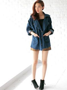 """Edgy Cut Denim Jacket $35.99 -- 10% off promo code """"AUTUMN14"""" offer ends 9/11/2014"""