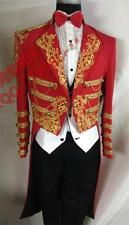 Red Groom Tuxedos Tailcoat Men's Gold embroidery LAPEL Suit Singer Jacket Custom