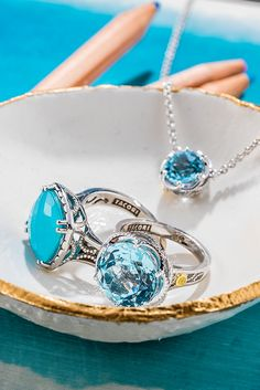 """What is your """"Something Blue""""? Amazing blue jewels, all handcrafted in our California Design Studios. Explore our Island Rains Collection to find the perfect """"Something Blue"""" jewel for your special day."""