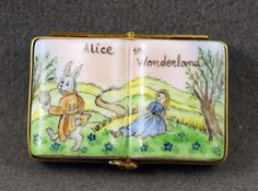 NEW FRENCH LIMOGES BOX ALICE IN WONDERLAND OPENED BOOK W ALICE & RABBIT W CLOCK