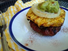 #paleo grilled pineapple burgers with spicy avocado cream