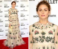 Olivia Palermo stuns in a vintage-inspired floral chiffon Valentino dress at the New York City 2015 Spring Ballet...