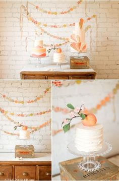 Love the peach cake, simple and sweet wedding cake … and polka dotted garland on ribbon and lace background … rustic glamorous, country elegance, Baby Birthday, First Birthday Parties, Birthday Party Themes, Birthday Ideas, Birthday Party Invitations, Birthday Cakes, Peach Baby Shower, Peach Party, Peach Cake