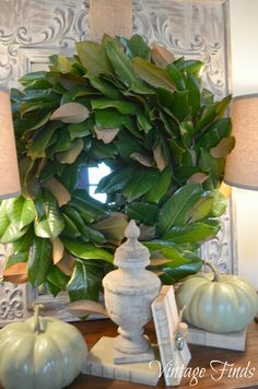 It doesn't get any easier than this.  Vintage Finds: Fall Magnolia Wreath