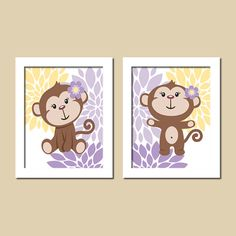 Floral Monkey Baby Girl Nursery Art Lavender Purple Gray Grey Yellow Set of 2 Prints Baby Girl Decor Twins Nursery Decor Wall Art Picture on Etsy, $19.33 CAD