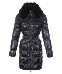 Moncler Cheap Classic Down Coat Women Zip Fur Collar With Belt Black Outlet Doudoune  Moncler, 9fa26daf07f