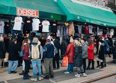 Shoppers in line at the faux Diesel pop-up on Canal Street in SoHo.