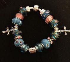 Family European Murano Beads Charm Bracelet