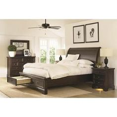 California King Sleigh Bed with Under Bed Storage Drawers | Nebraska Furniture Mart