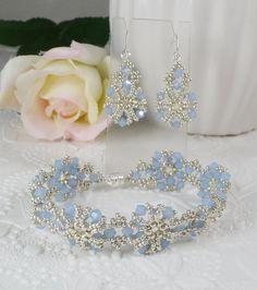 Woven Bracelet and Earrings Set Blue Opal by IndulgedGirl on Etsy