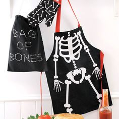 4 Pce BONES Skeleton Kids MASTER CHEF Cooking Kitchen SET Apron in Home & Garden, Kitchen, Dining, Bar, Linen | eBay