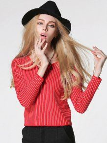 Red Fashion Straight Cut Striped Pullovers Woman Sweater