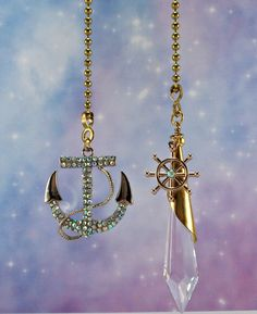 Mermaid ceiling fan pull chain or light lamp pull chain house set of two nautical crystal ceiling fan pulls by bychristinemarie aloadofball Gallery
