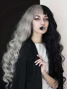 Half Black and Half Grey Water Wavy Quite Long Synthetic Lace Front Wig - All Synthetic Wigs - EvaHair Half Colored Hair, Half And Half Hair, Gorgeous Hair Color, Cool Hair Color, Grey Curly Hair, Wavy Hair, Black Girl Braided Hairstyles, Pretty Hairstyles, Front Hair Styles